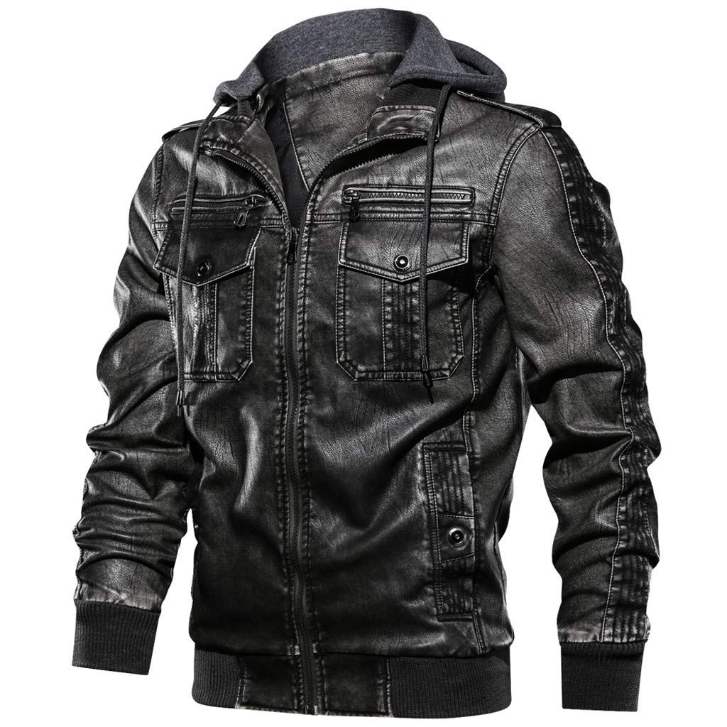 Men's Slim PU Faux Leather Motorcycle Jacket Hooded Zip Up Bomber Jackets Winter Vintage Faux Leather Coats Black by SSYUNO-men tops