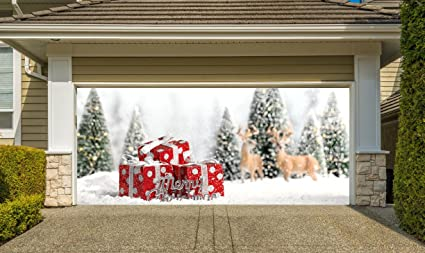 christmas garage door cover banners 3d holiday outside decorations outdoor decor for garage door g56 - Garage Christmas Decorations