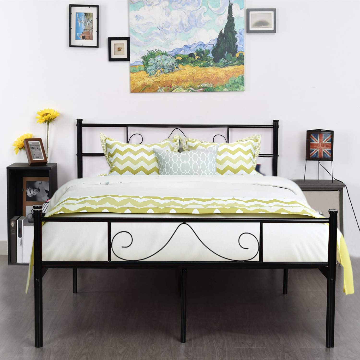 GreenForest Bed Frame Queen Size with Headboard and Stable Metal Slats Boxspring Replacement Platform Mattress Base,Black