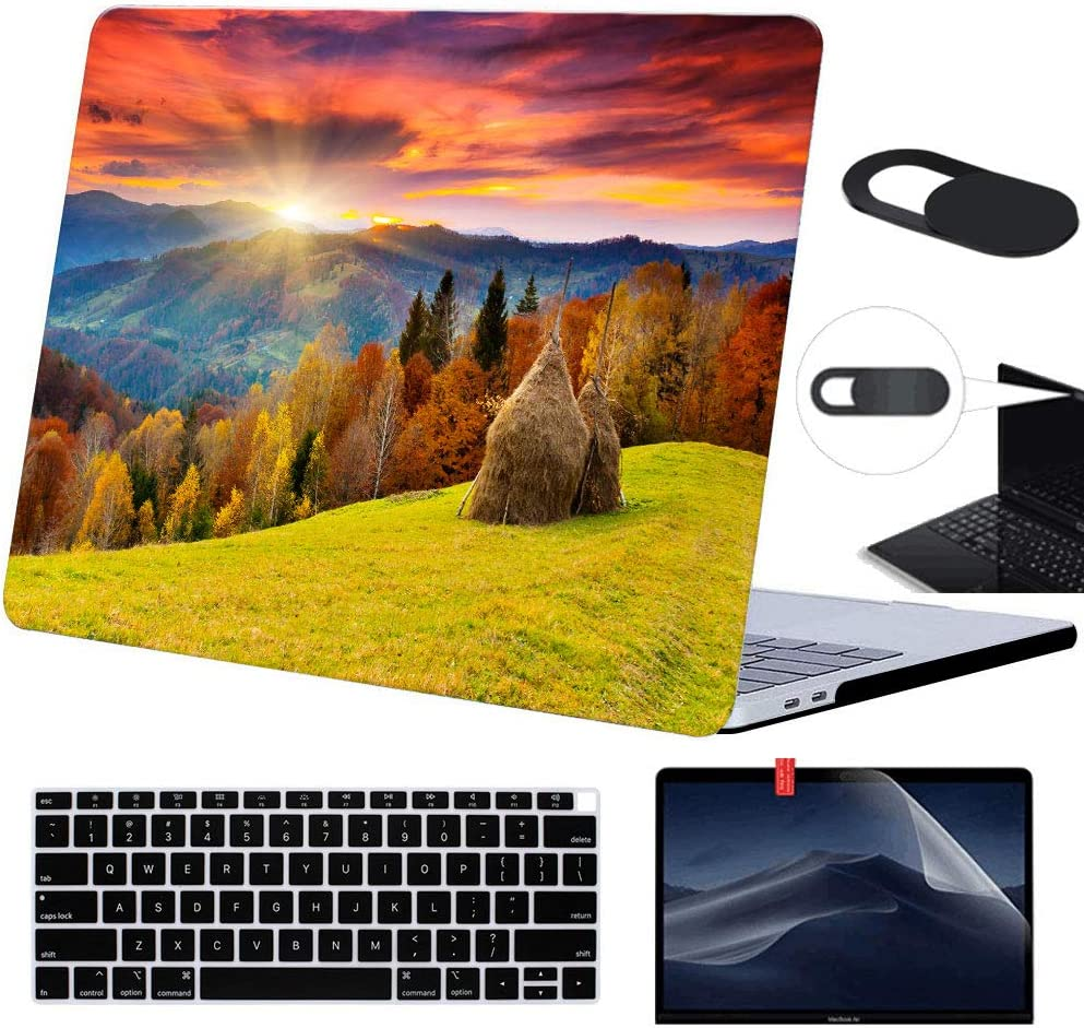 Funut MacBook Air 13 inch Case 2019 2018 Release,Plastic Case & Screen Protector & Keyboard Cover & Webcam Cover,Protective Laptop Case Hard Shell for MacBook Air 13(1932), 01 Sunset
