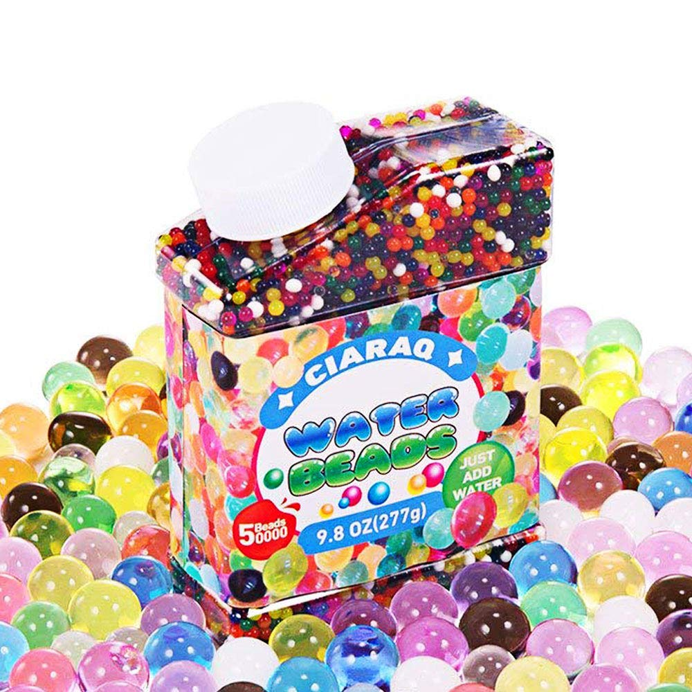 CiaraQ Water Beads Pack (50000 Beads) Rainbow Mix Jelly Water Gel Beads Growing Balls for Kid Tactile Sensory Toys, Vases, Plant, Wedding and Home Decoration