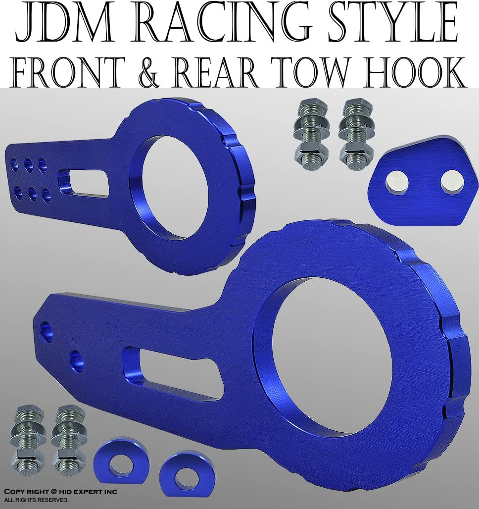 JDM Style Tow Hood Set Front Rear Universal Fit Aluminum CNC Racing Silver