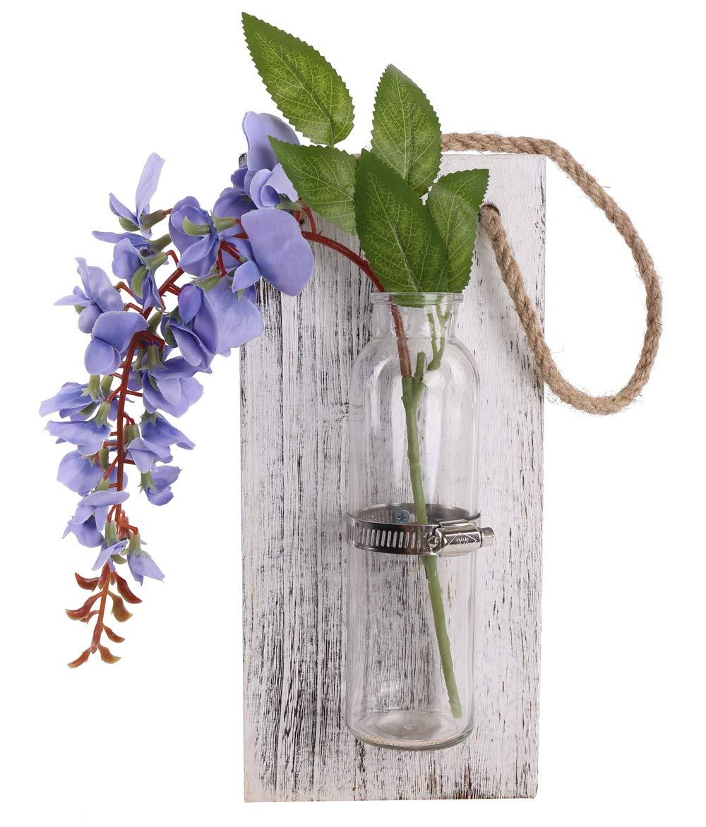 ホーム壁飾りアートインテリア木の板(レトロ)吊り下げポット壁掛け式の花瓶水耕栽培ガラス製花瓶ホームリビングルーム用(花なし) (ホワイト) B072NC52BS ホワイト