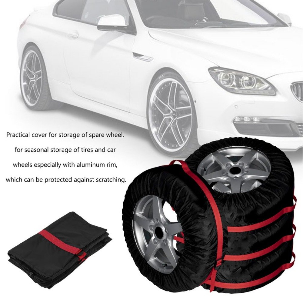 Bingo Point 4Pcs Spare Tire Cover Case Nylon Winter Summer Car Tires Storage Bag Automobile Tyre Vehicle Wheel Protector for 16-22 inch by Bingo Point (Image #1)
