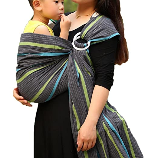 5. Vlokup Baby Ring Sling Wrap Carrier, Grey Rainbow