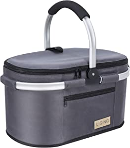 LIQING Insulated Picnic Basket 32L Portable Collapsible Market Basket Stylish 40-Can Large Picnic Tote with Aluminum Handle for Camping Travel Leakproof Lightweight Cooler Bag (Gray)