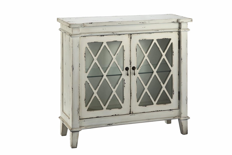 Amazon.com: Stein World Furniture Goshen 2 Glass Door Cabinet, Antique  White, White: Kitchen U0026 Dining