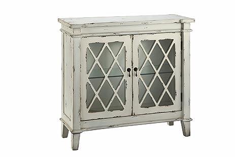 Stein World Furniture Goshen 2 Glass Door Cabinet, Antique White, White