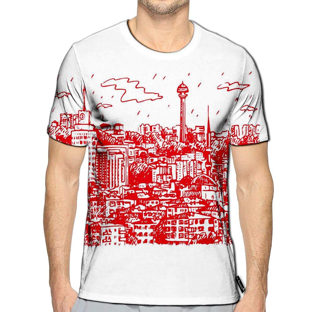 Randell 3D Printed T-Shirts View of Ankara Capital City Turkey Freehand Pencil Sketch Sh
