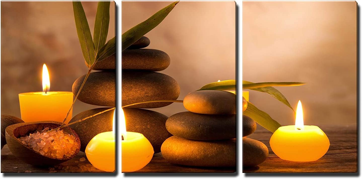 "wall26 3 Piece Canvas Wall Art - Spa Still Life with Aromatic Candles and Zen Stones - Modern Home Art Stretched and Framed Ready to Hang - 16""x24""x3 Panels"
