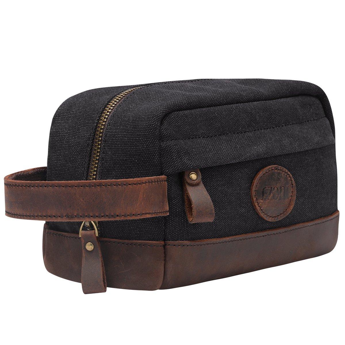 S-ZONE Vintage Leather Canvas Men Toiletry Bag Shaving Dopp Case Dopp Kit Makeup Bag Groomsmen Gifts S-ZONE D04V826C