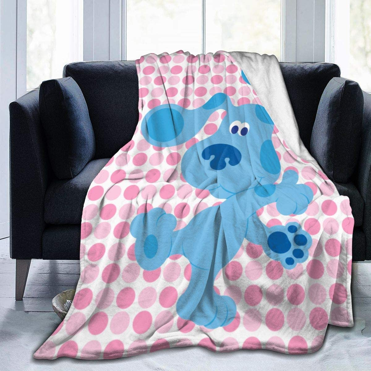 Fleece Flannel Bed Blanket Blue Dog Dancing Microfiber Air Conditioning Quilt Sofa Couch Car Chair Living Room Bedroom Quilt 50X40Blanket for Kids