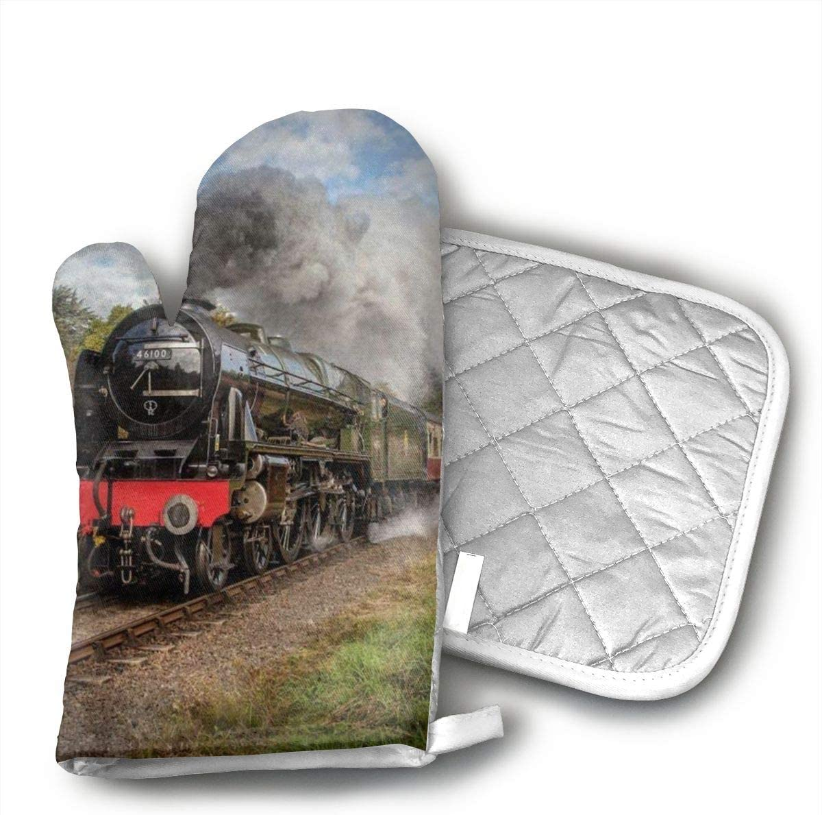 not Steam Train Scottish Oven Gloves, Smart Home, Long, Mittens, Heat Resistant, Extra Thick, Quilted