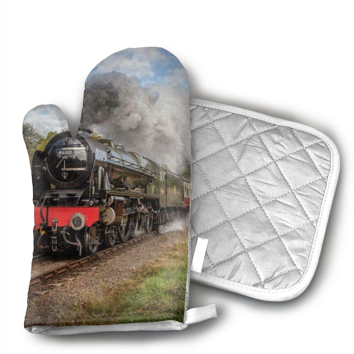 VFSFJKBG Steam Train Scottish Oven Gloves, High Heat Resistance, Machine Washable High Heat Resistant Polyester Filling for Thanks Giving, Christmas