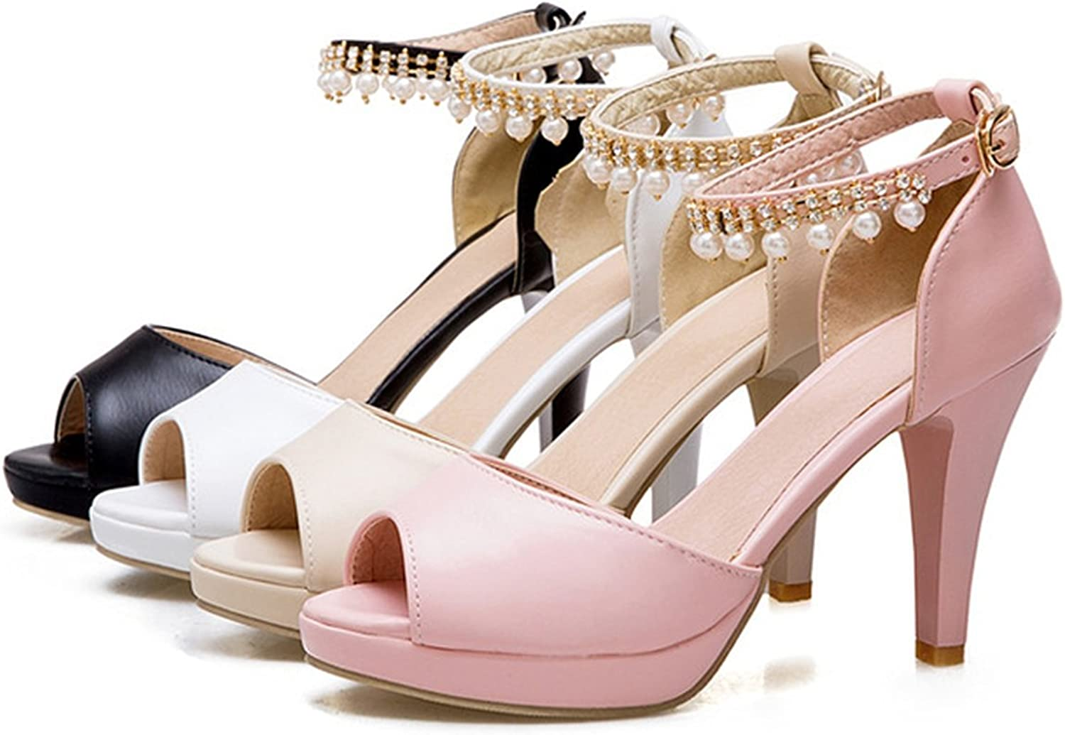 Collocation-Online Womens Ankle Strap Spike High Heels String Bead Platform Shoes Casual Summer Sandals,Pink,9.5