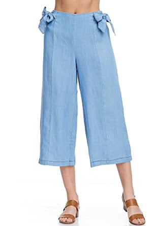 ffc8ef387e2e Alexander + David A+D Womens Casual Denim Capri Culotte Pants w/Elastic  Waist at Amazon Women's Jeans store
