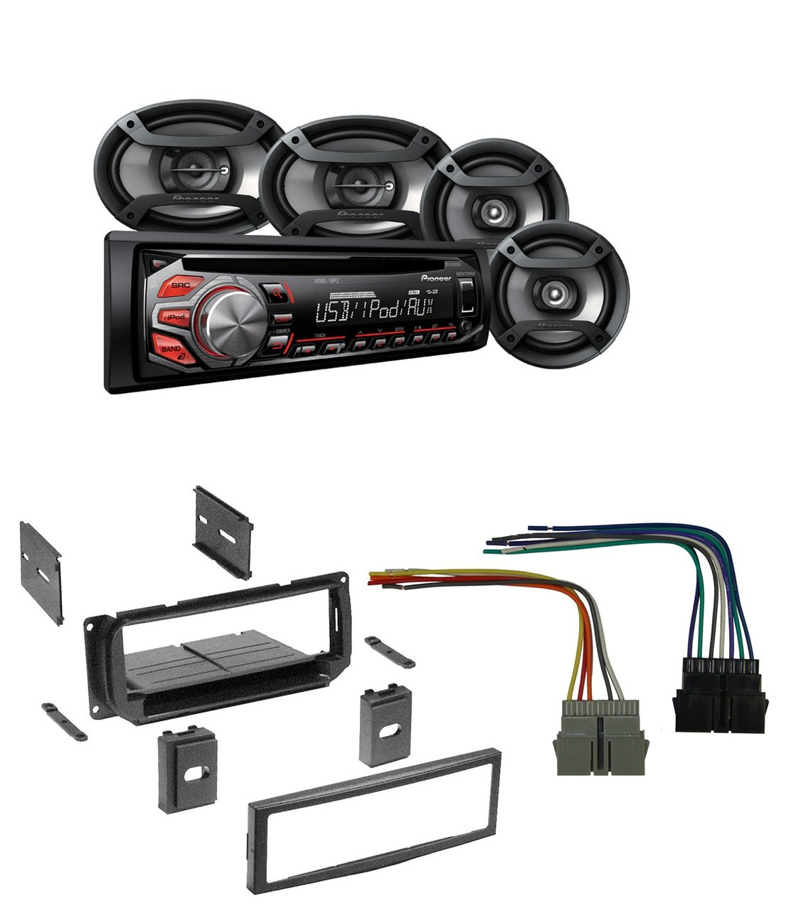 New Car Stereo Radio Kit Dash Installation Mounting Trim Wiring Harness 1 Din Bezel W And Pioneer Dxt X2669ui Am Fm Cd Mp3 Usb Aux In Put