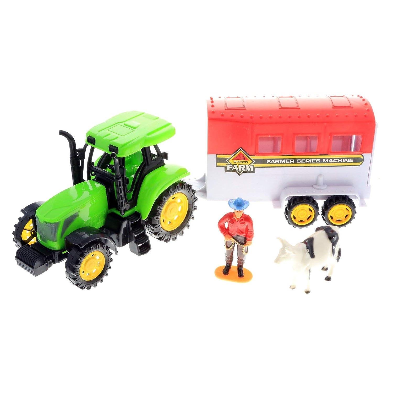 KidPlay 摩擦ムーブメント おもちゃ 農業トラクターセット フィギュア付き グリーン   B07KMCPHX9