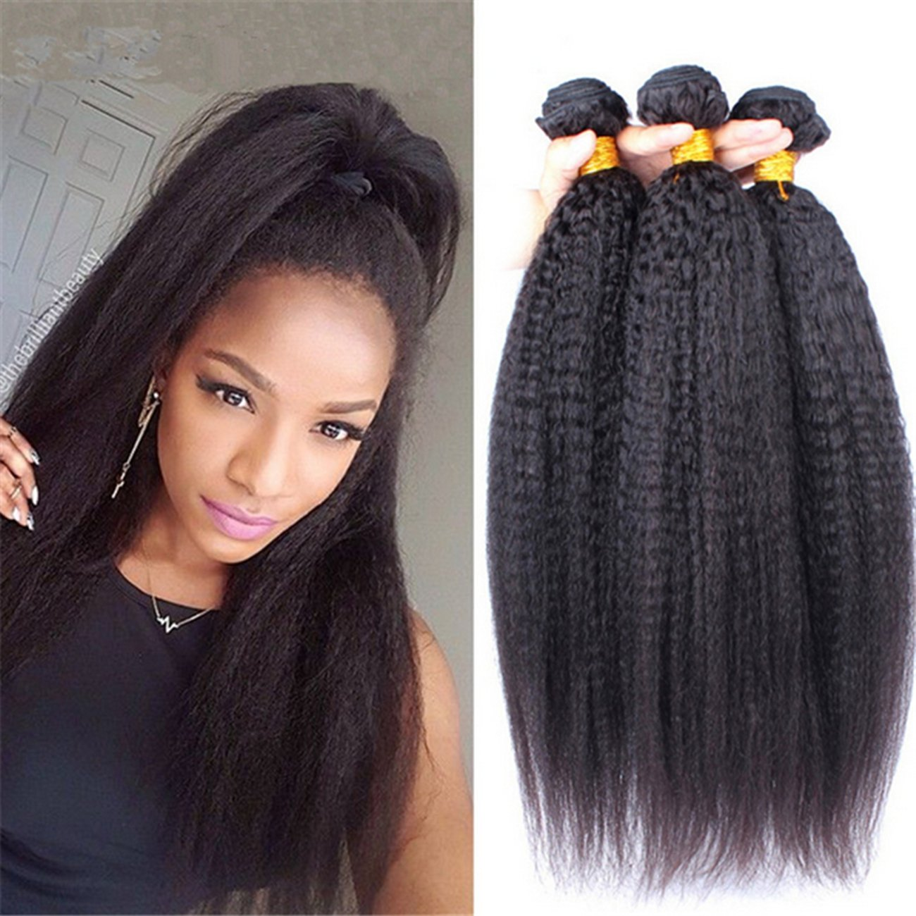 Amazon Ruma Hair 8a Mongolian Kinky Straight Hair Weave Wefts