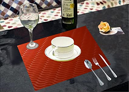 Kuber Industries Pvc Dining Table Placemats Multi Purpose Mats Set Of 6 Pcs Red