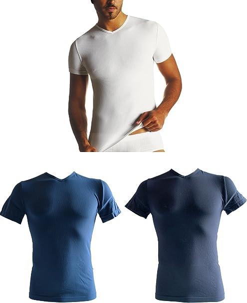 SENSI Tres Camiseta Interior Hombre Manga Corta Cuello V Sin Costuras Seamless Made in Italy: Amazon.es: Ropa y accesorios