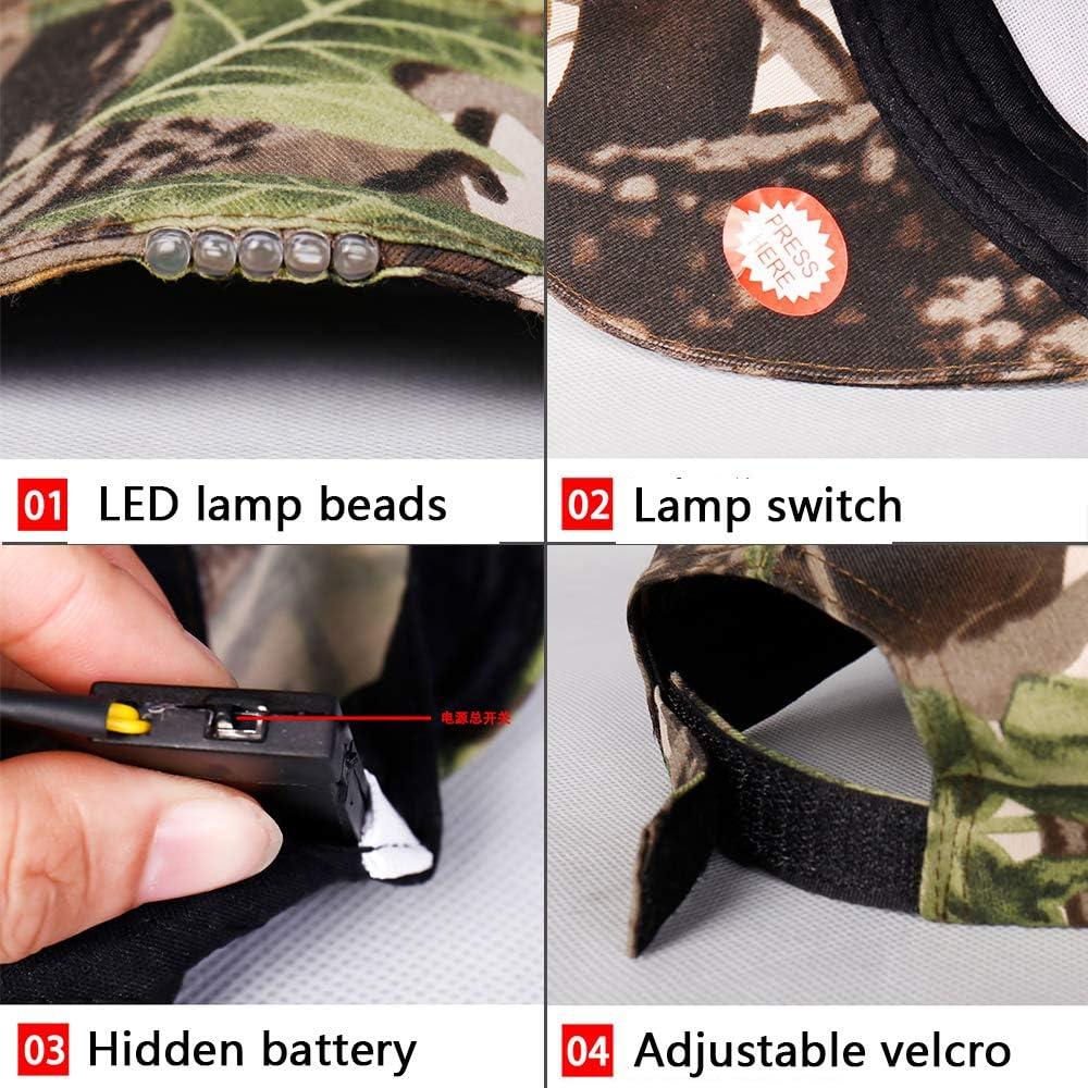 Auto Repair Jogging Walking Handyman Working with 5 LED Flashlight Brim Lighting Camping Grilling Black SIKOYA LED Baseball Cap Light Glow Bright for Hunting
