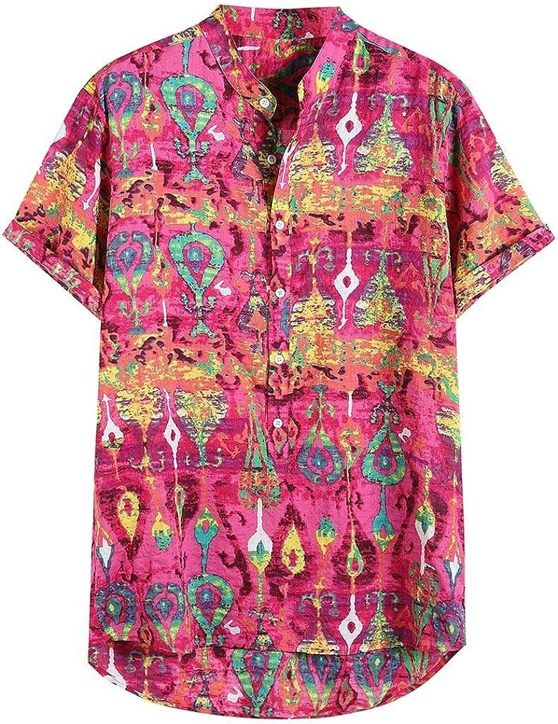 4Clovers Mens Hawaiian Short Sleeve Print Shirt Casual Button Down Standard Fit Beach Shirts