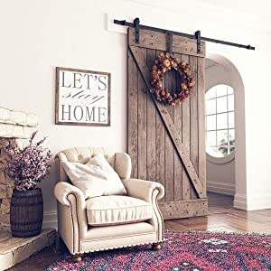 """SMARTSTANDARD 7ft Heavy Duty Sturdy Sliding Barn Door Hardware Kit -Smoothly and Quietly -Easy to Install -Includes Step-by-Step Installation Instruction Fit 42"""" Wide Door Panel (I Shape Hanger)"""