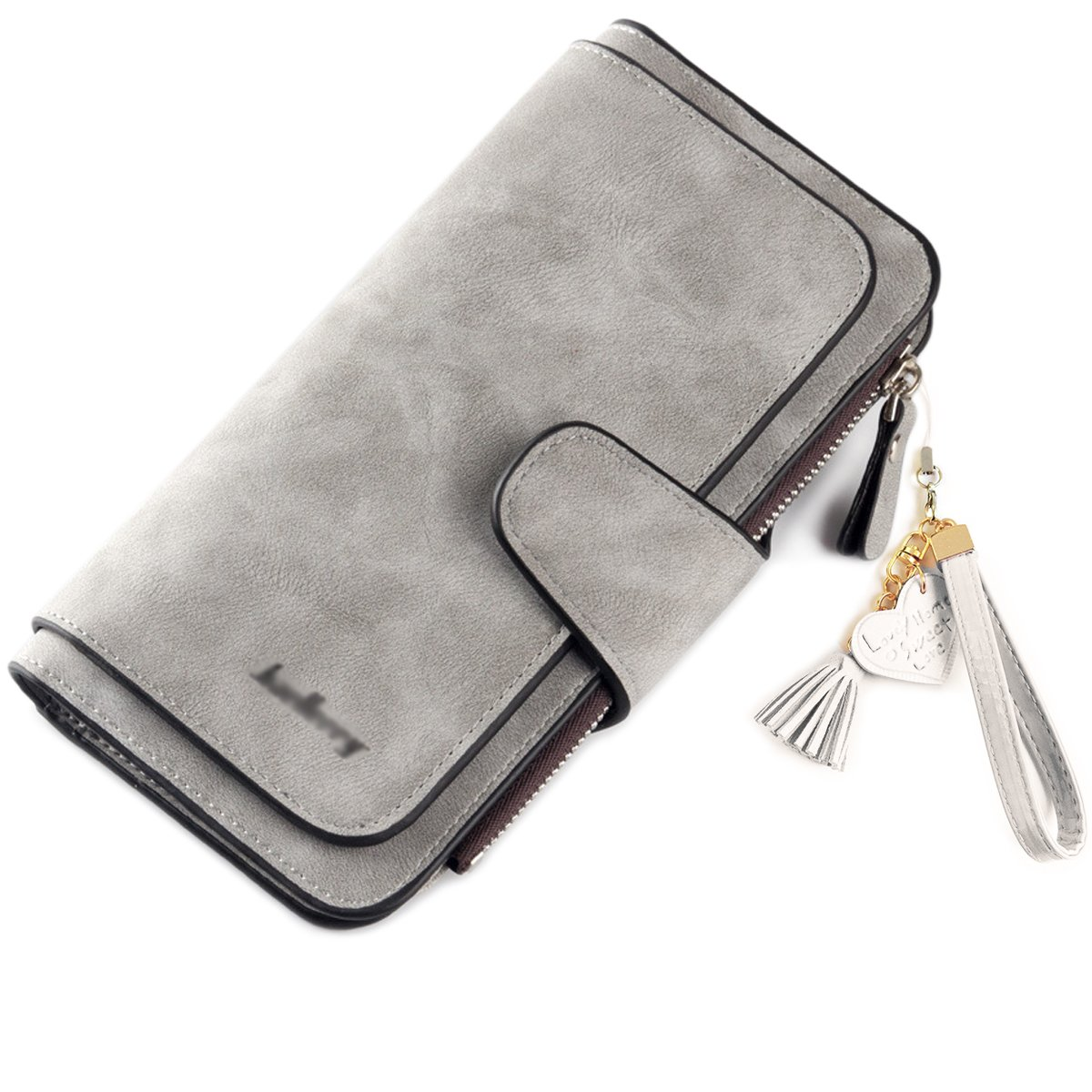 Wallet, NEWANIMA Womens Leather Large Capacity Wallet Multi Card Organizer With Keychain, Color - Style-2-light Grey