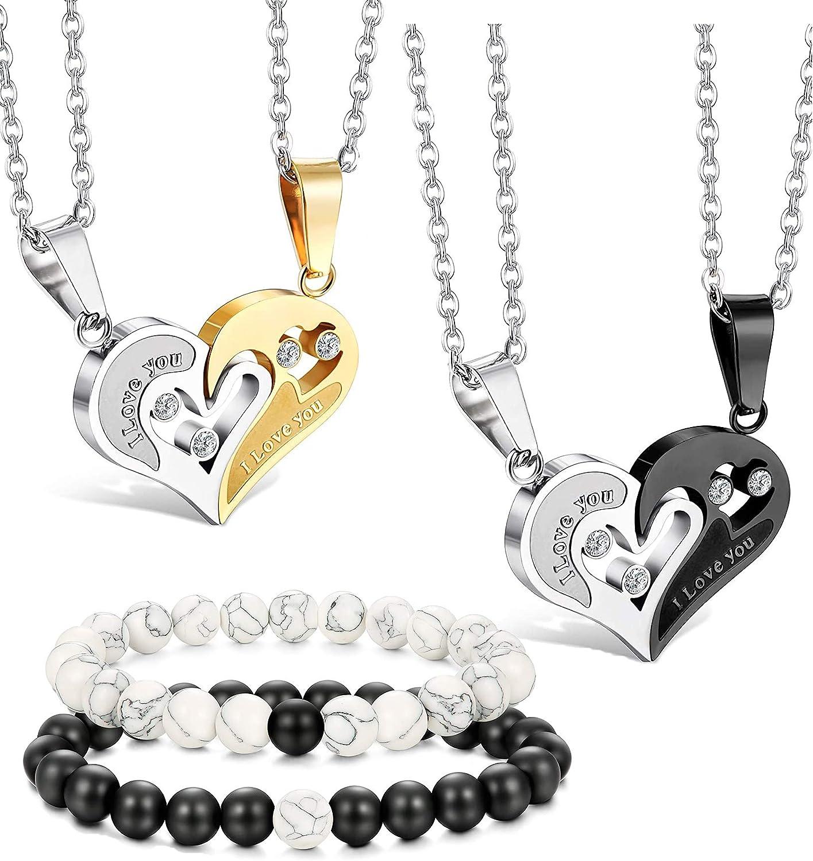 LOLIAS Pareja Collares y Pulseras Set para Hombre Mujer Pareja Colgante Collar Rompecabezas Corazón Amor de Distancia Pulsera Piedra Bolas Cadena Acero Inoxidable