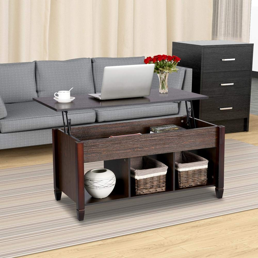 Yaheetech Wood Lift-Top Coffee Table – with Hidden Compartment Home Living Room Furniture