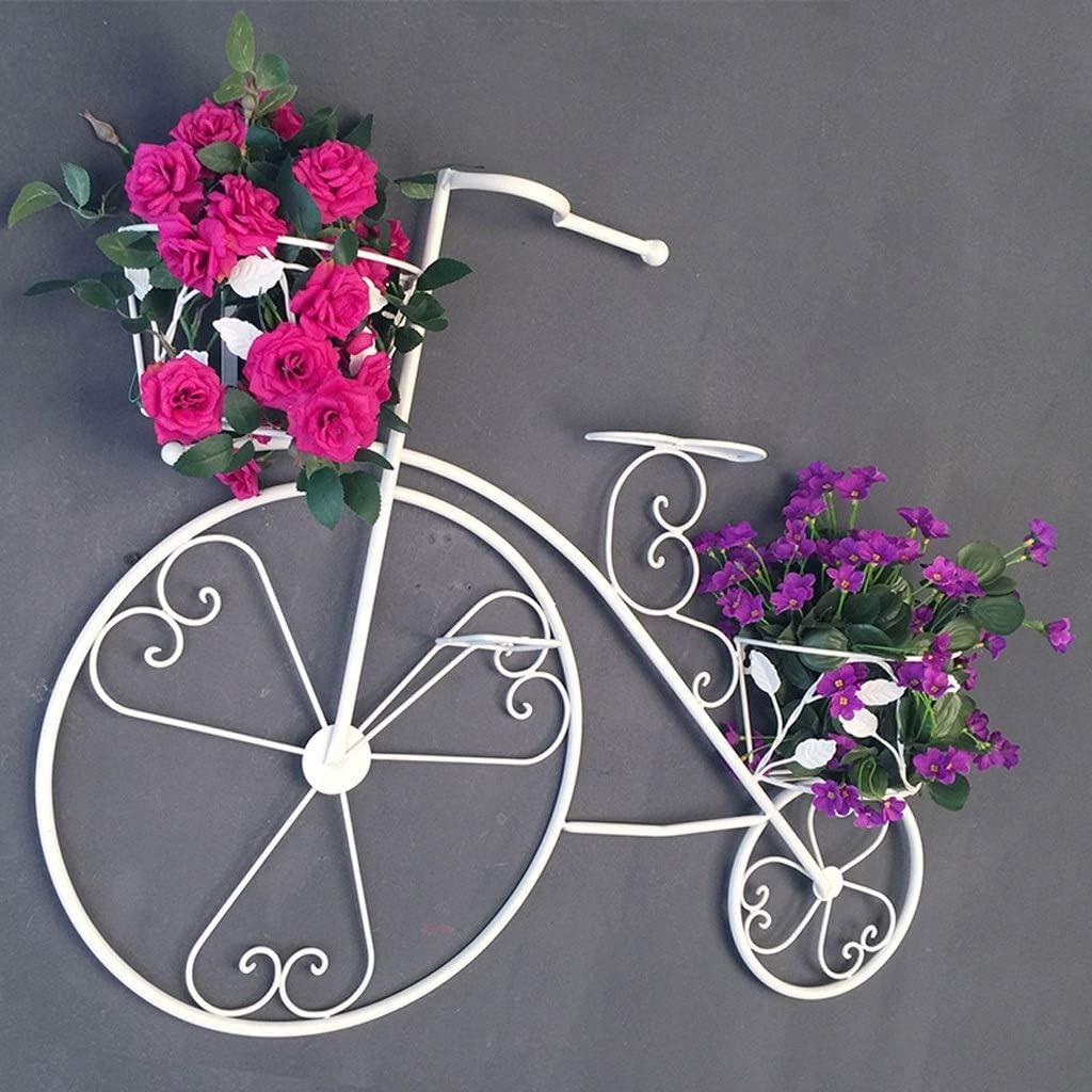 MXD Soporte de Flores Retro Hierro Forjado Decoración de Bicicletas Soporte de Flores Canasta de Flores Colgante de Pared Sala de Estar Interior al Aire Libre Balcón Colgante Soporte de Flores