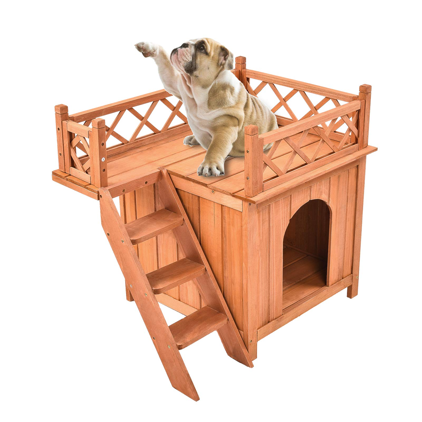 SUNCOO Wooden Dog House Cat Room for Indoor Use,Puppy Bed Room with Stairs Shelter Balcony Bed,Cat Condo for Small Pets, L20.67 x W28.54 x H25.59