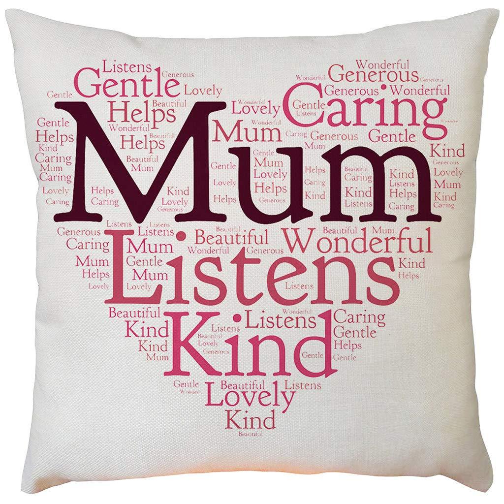 Psunrise La Almohada Happy Solid White Mother's Day Sofa Bed Home Decoration Festival Pillow Case Cushion Cover45x45 CMA