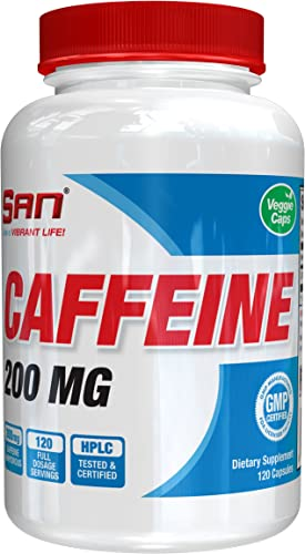 SAN Nutrition Caffeine Anhydrous for Increased Power, Energy, Endurance, Fat Burning, Focus, and Improved Memory, 120 Count