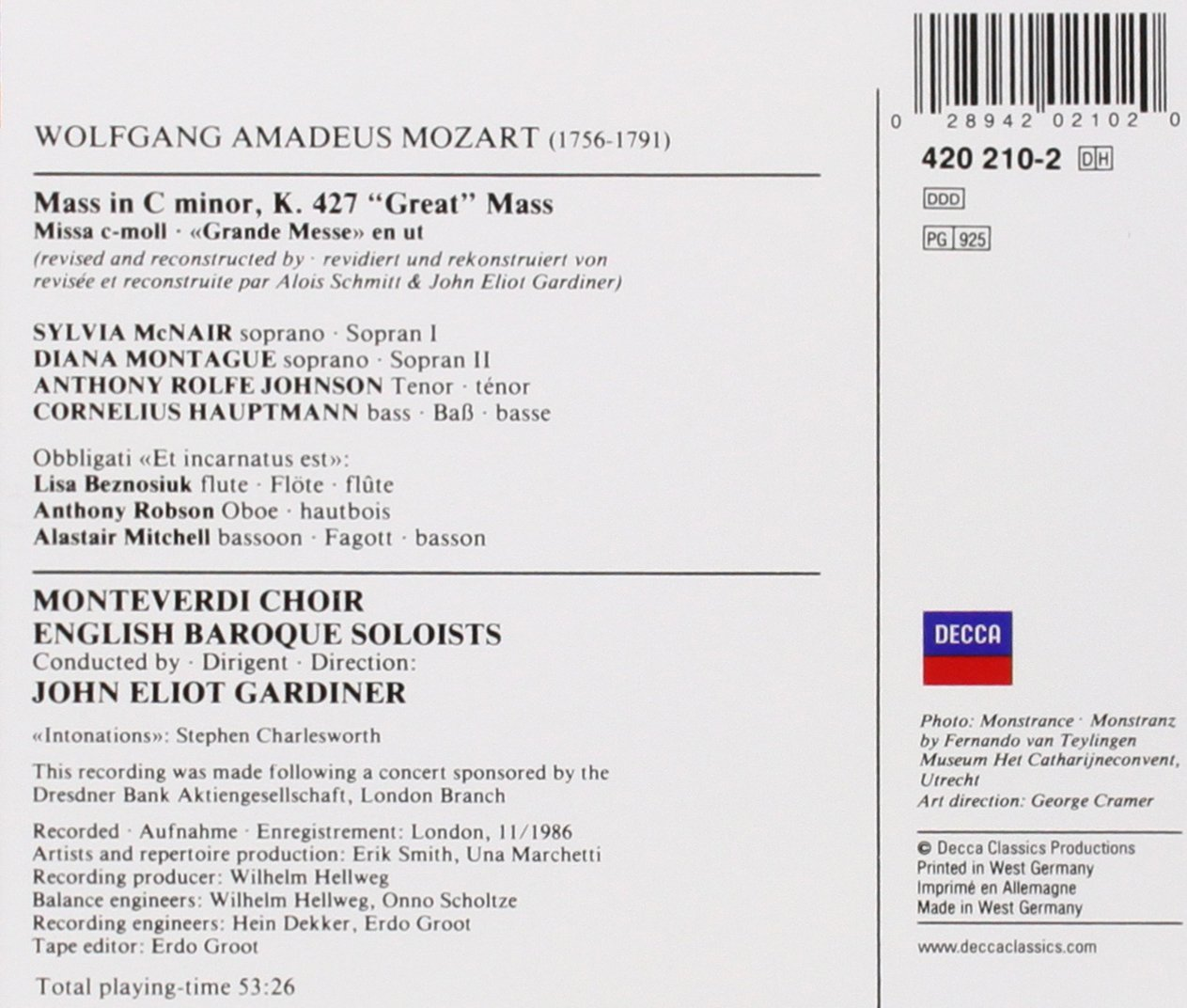 Mozart: Great Mass in C minor /McNair * Montague * Rolfe Johnson * Hauptmann * English Baroque Soloists * Gardiner