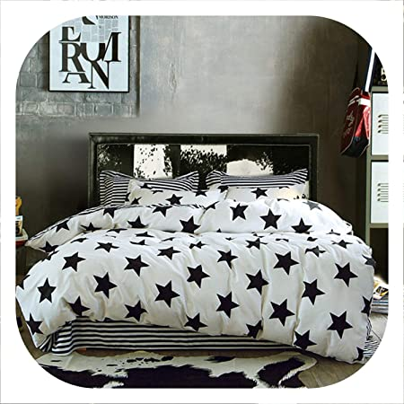 White Stars Print Quilt Cover Pillow Cases King Queen Twin Gray Duvet Covers Set