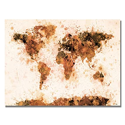 Amazon bronze paint splash world map by michael tompsett 18x24 bronze paint splash world map by michael tompsett 18x24 inch canvas wall art gumiabroncs Gallery