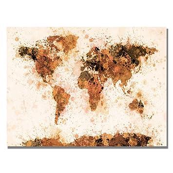 trademark fine art bronze paint splash world map by michael tompsett canvas wall art 18x24