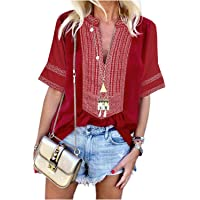 ZILIN Women's Casual Cold Shoulder Rose Embroidered T-Shirt Long Sleeve Loose Blouse Tops