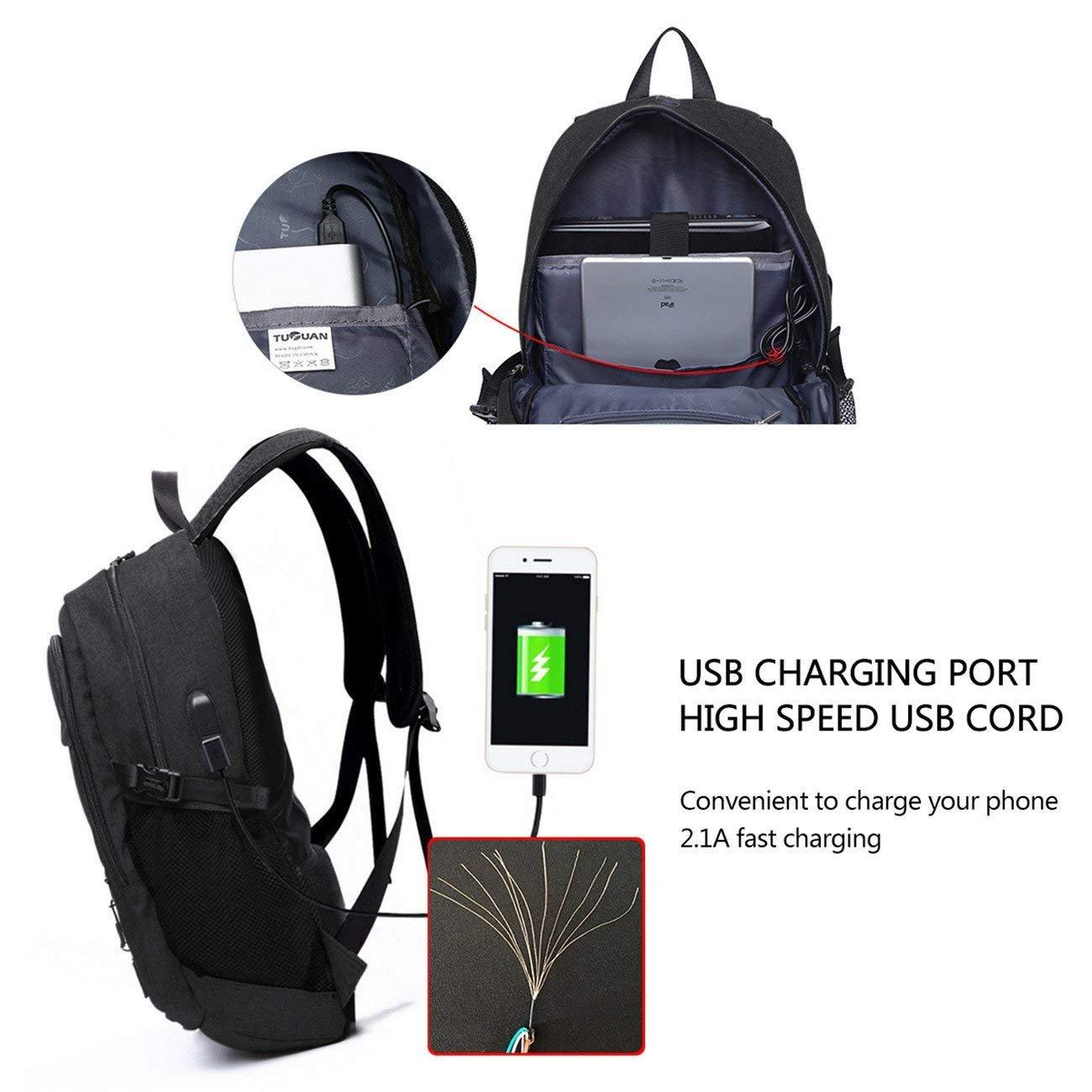 Chrislley Anti Diebstahl Laptop Rucksack mit USB Ladeanschluss 15 6 Zoll Wasserdicht für Business Travel Outdoor Wandern School für Frauen Männer (Grau)