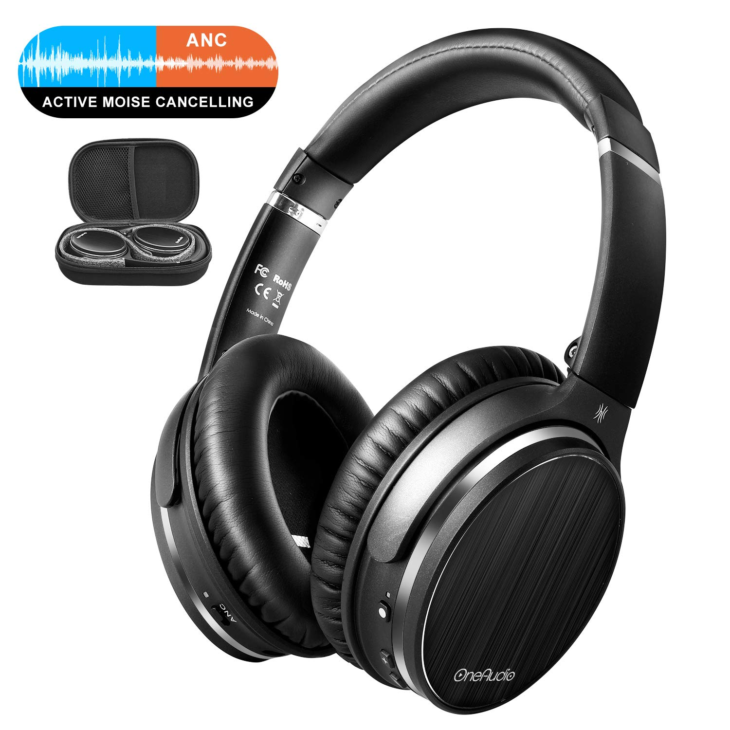 OneOdio Active Noise Canceling Bluetooth 4.1 Headphones with Mic, Wireless Wired Comfortable Foldable Stereo ANC Over Ear Headset for Airplane Travel Work TV PC Phone Computer OneOdio USA A3