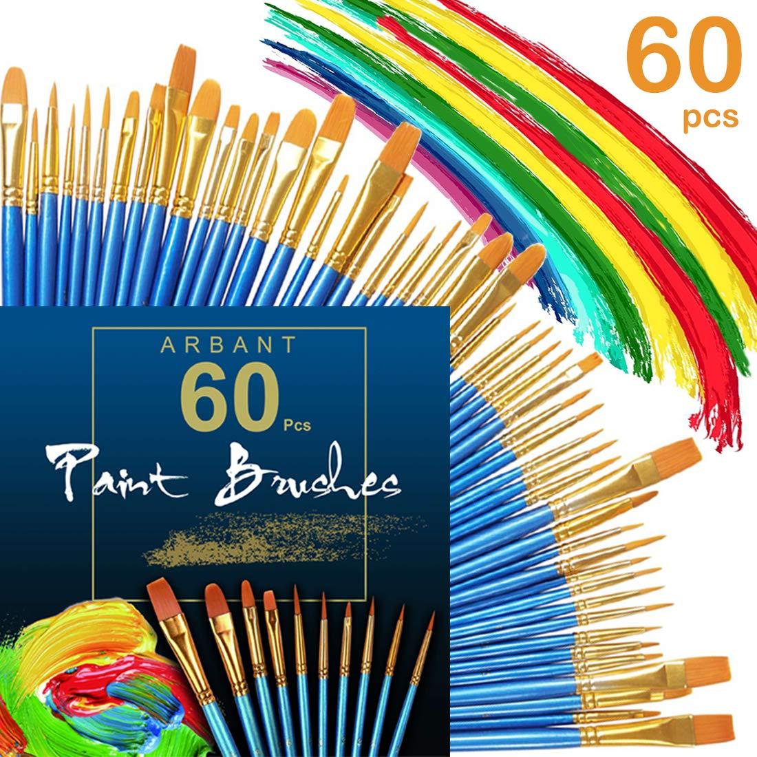 Paint Brushes Set,60 Pcs Nylon Hair Brushes Sets for Fine Detailing & Art Painting, Acrylic Watercolor Oil, Nail Art, Miniature Painting ARBANT
