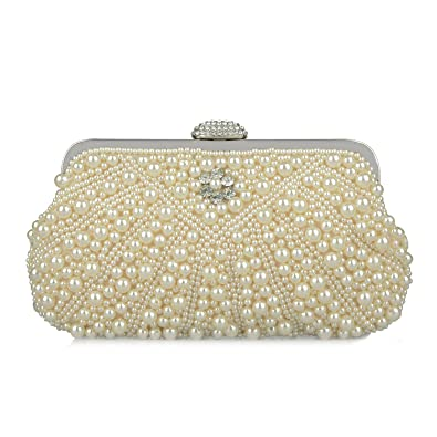 e62894cc05 Baglamor Women s Evening Bag Pearl Crystal Bag Shell Handbag fit Wedding  Party Beautiful Luxury Purses (