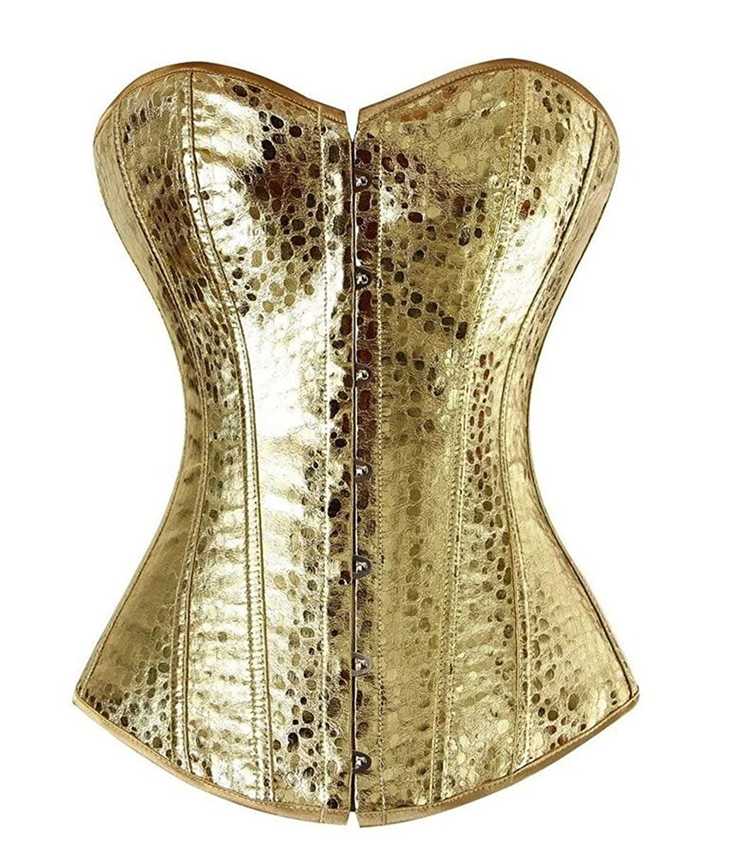 gold frawirshau Faux Leather Corsets for Women Lace up Boned Waist Cincher Bustier Lingerie Overbust Gothic Corset Top