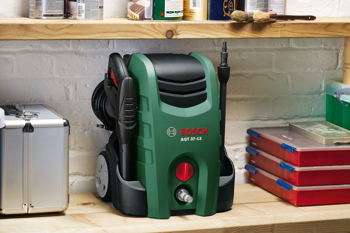 Bosch High Pressure Washer AQT 37-13+ (high-pressure pistol, lance, patio cleaner, water filter, wash brush, nozzle, 6 m hose, 5 m mains cable, cardboard box, 1.700 W, max. flow rate: 370 l/h) 06008A7271