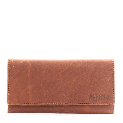 26d7e986ca5c5f LECONI Geldbörse Portemonnaie Brieftasche Damen querformat lang  Vintage-Look Leder 19x9x2,5cm braun LE9008