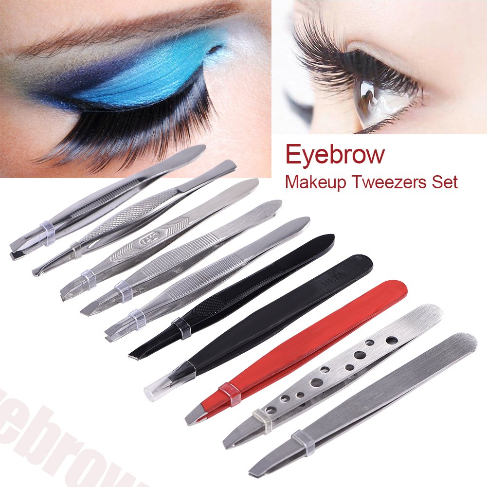Eyebrow Tweezers,Stainless Steel Eyelash Hair Lash Extension Clip Makeup Beauty Tool ZJchao