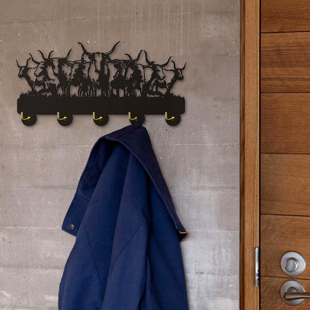 Wild Animal Buffalos Art Decorative Wall Mounted Hooks Rack Buffalos Team Wall Hanger for Clothing Bag Towel Keyring Personlized Wall Art Decor