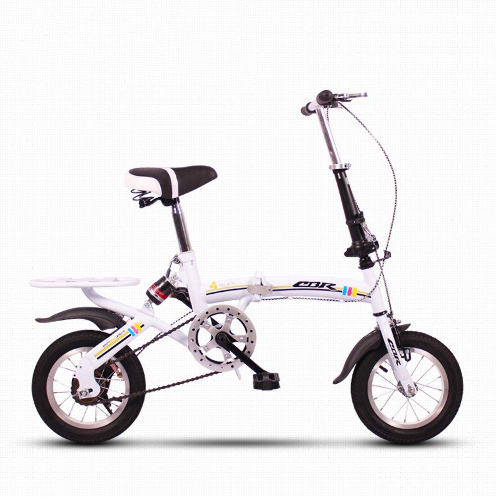 子供用折りたたみ自転車, 学生折りたたみ自転車 軽量 ミニ 小型のポータブル 衝撃吸収 男性と女性 折りたたみ自転車 B07DK6FRFV 12inch|白 白 12inch